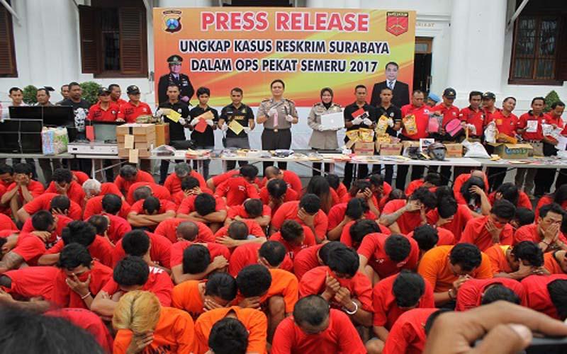Operasi Pekat 2017, Polrestabes Surabaya Amankan 156 Pelaku Tindak Kriminal