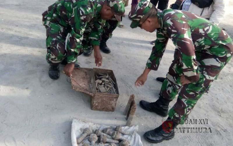 TNI Temukan Ribuan Butir Amunisi Dan Handak Peninggalan Jepang Di Maluku