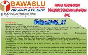 Panwascam Talango Buka Pendaftaran PPL