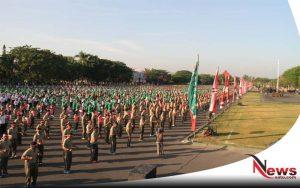 300 Ribu Anggota TNI Gelar Tari Gemu Famire Di Lapangan Makodam V Brawijaya