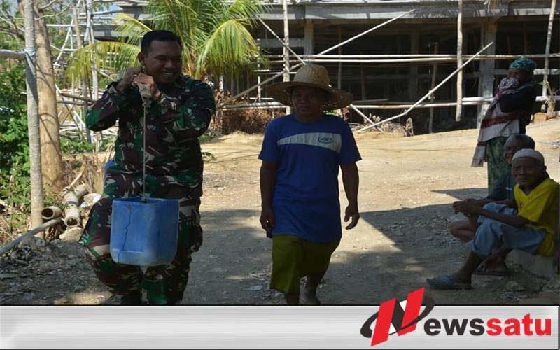 Begini TNI Bangkalan Atasi Kekeringan Di Desa Durin Timur