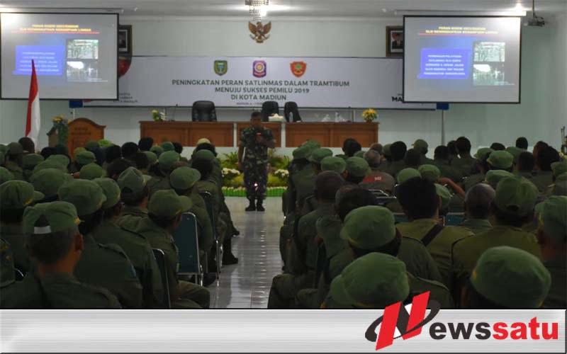 Kodim 0803 Madiun Tingkatkan Peran Satlinmas Dalam Mendukung Sukses Pemilu 2019