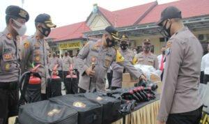 Polres SampangApel Kesiapan Pasukan dan Peralatan Dalmas Jelang Pilkada Serentak