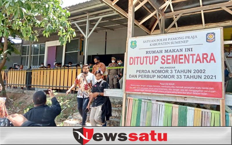 Salah Satu Caffe di Sumenep Ditutup Sementara Oleh Kasatpol PP